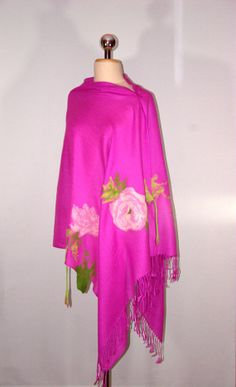 Pashmina with Felted Flowers Pink Felted Scarf Poncho by Filtil, $58.00