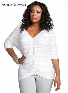 fb98669ea Ashley Stewart Women s Ruched Embellished Knit Top · Top ListAshley StewartOnly  FashionPlus Size ...