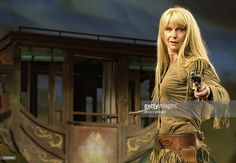 The Shadow of Toyah Willcox performs during in a photocall for 'Calamity Jane' at Shaftsbury Theatre June 19, 2003 in London, United Kingdom.