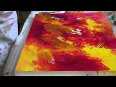 Nancy Christy-Moore demonstrates pouring your paintings. - YouTube