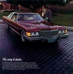 1974 Cadillac sales literature featuring the Coupe De Ville.