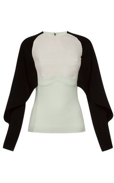 This color-blocked cady blouse from Antonio Berardi features a high round neck, tapered bat wing sleeves, and curved seam inset. Exposed two-way back zip50% rayon, 47% acetate, 3% elastaneFully linedMade in Italy Please note: This item may be returned for M'O credits or full refund.