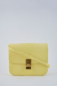 e1b6dbd7d980d5 Celine Yellow Python Medium Classic Box Bag