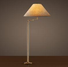 French Column Glass Swing-Arm Floor Lamp
