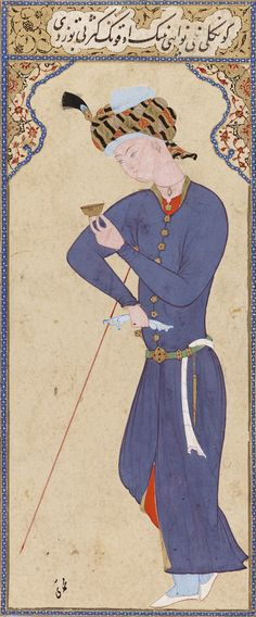 Standing Figure, mid-16th century. Ascribed to Muhammadi. Safavid period. Ink, and gold on paper. H: 15.9 W: 6.9 cm. Probably Qazvin, Iran. F1933.7. © 2012 Smithsonian Institution