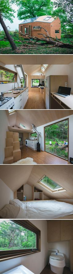 Nice house on wheels. Wht cant stairs be able to roll to the wall whwn not using the bedroom? The Netherlands first legal tiny house. A beautiful home with a clean, modern… - Small Tiny Houses Best Tiny House, Micro House, Tiny House Plans, Tiny House On Wheels, Tyni House, Tiny House Living, Tiny House Design, Modern House Design, Loft Design