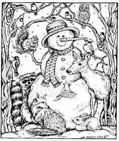 Snowman Friends Adult Coloring Pages Pinterest Snowman