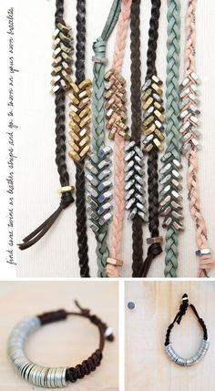 Tutorial fai da te intrecciato Dado esagonale Bracciale. http://honestlywtf.com/diy/diy-braided-hex-nut-bracelet/:
