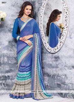 Conspicuous Blue Chiffon Saree
