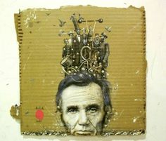 Cardboard Paintings by Mario Soria inspire me to put my paintbrushes to cardboard!