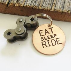 Eat Sleep Ride Biking Keychain Father's Day Gift Husband Motorcycle Keyring Cycling Gift Road Bike Trendy Gift for Son Motorbike Street Bike