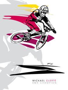 Mickaël Clerté BMX CHAMPION illustration Christophe BOUL www.boulplanet.com