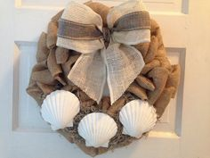 Burlap Beach Wreath Beach Wreath Seashell Wreath by JAMDesignsNJ, $55.00