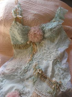 Morning Cloud Original Beaded Slip Dress Hand Dyed with Vintage Lace and Roses ~❥