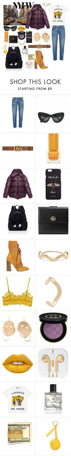 """NYFW"" by mylano ❤ liked on Polyvore featuring TAXI, Current/Elliott, CÉLINE, Gucci, Habit Cosmetics, Nina Ricci, Anya Hindmarch, Chloé, J.W. Anderson and Ganni"