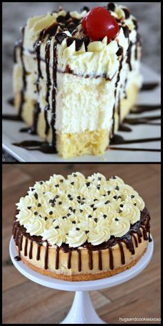 Boston Cream Pie Cheesecake is a decadent dessert that no one will be able to refuse! It has a little shortcut on the cake layer, too! Cheesecake Bites, Cheesecake Recipes, Dessert Recipes, Birthday Cake Cheesecake, Cheesecake Cake, Dessert Ideas, Birthday Cakes, Chocolate Cheese, Mini Chocolate Chips