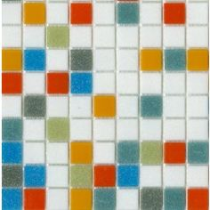 Brio Logo Mosaic Glass Tile Blend in White Green Blue Teal Red Orange and Gray Multicolor Layout Close-up