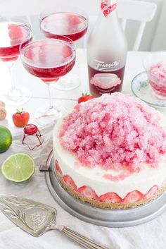 Frozen Cheesecake with Fresita and Lime Granité #recipe #dessert