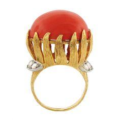 Vintage Ruser Coral & Diamond Ring in 18K Gold & Platinum   Circa 1960s
