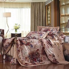 Toile Gold Floral Embroidery Cotton 4-Piece Full/Queen Size Bedding Sets