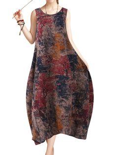 O-NEWE Chinese Style Women Printed Sleeveless Vintage Maxi Dress