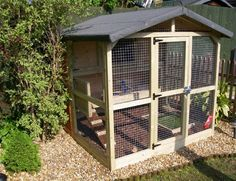 A hutch within an aviary gives rabbits so much more space & looks great. Pic Rabbitats.org