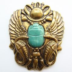 Vintage Art Deco Egyptian Revival Scarab Pin Brooch Brass