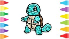 Glitter Pokemon Squirtle how to coloring and drawing for Kids & Color pa. Fun At Work, Drawing For Kids, Coloring For Kids, Pokemon, Glitter, Make It Yourself, Drawings, Painting, Coloring Pages For Kids