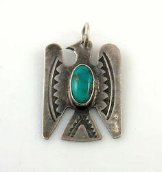 Vintage Navajo Hand Stamped Sterling Silver Turquoise Eagle Pendant J I   eBay