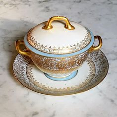 Limoges Covered Soup Bowls Bouillon Cream Soup Gilded Hand