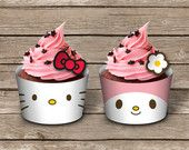 Printable cupcake wrapper INSTANT DOWNLOAD - Hello Kitty and My Melody birthday party collection