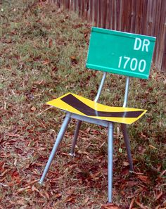 What's your Sign, Upcycled Chair - Add a splash of Industrial Color to your decor. $265.00, via Etsy.