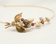 Vintage flowers handmade headband in gold and pink, women hair acesories, headbands