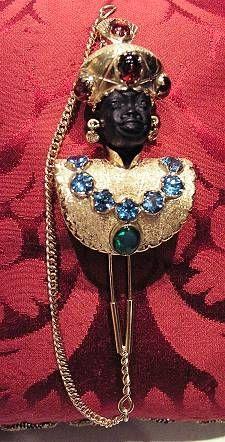 "Venetian blackamoor brooche and pendant ""Azur"" Yellow Gold 18 kt Sempirecios stone assorted Black Opals"