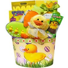 Art of Appreciation Gift Baskets Lucky Ducky Chocolate and Candy Easter Gift Basket #easter #giftbasket Lucky Ducky is ready to share his best Easter wishes this year! He's nestled in a colorful paperboard gift tub surrounded with yummy Easter sweets and treats. Enjoy Marshmallow Peeps, Double Crisp Chocolate Chick-a-dee, Too Good Gourmet Duckie Shortbread Cookies, Chocolate Chip Easter Cookies, and a hand frosted Carrot Shaped Cookie and Easter Egg Cookie decorated with little baby duckies...