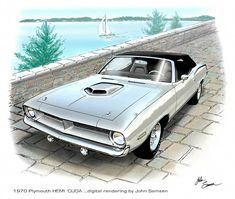 1970 Hemi Cuda Plymouth Muscle Car Sketch Rendering Painting by John Samsen