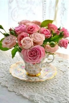 tea roses and lace also good for centerpieces