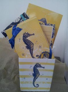 Seahorse inspired Stationery packaged in a coordinating box...