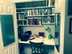 Desk in closet designed by Dollie Kappel with items from IKEA!