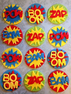 Quantity: 12 edible fondant toppers  3 Pow 3 Boom 3 Zap 3 Bam  Size: approx. 2  These go perfect with a set of super hero toppers! Check out