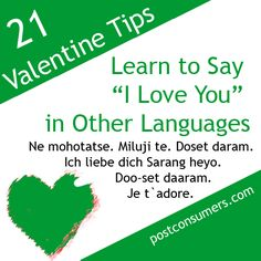 Number 17 on our list of Fun and Eco-Friendly Valentine's Day Ideas:    It may sound cliché, but it's always romantic when somebody learns to tell you that they love you in a multitude of languages.