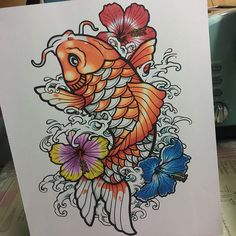 Awesome fish and flowers page which has been coloured in by @_cytronix_ with their Chameleon Pens. #chameleonpens