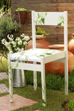 paint garden chair calla flowers diy decoupage