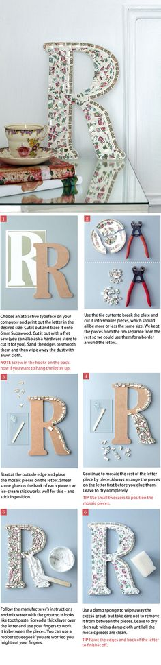 *Make a Beautiful Letter or Number Mosaic - This is a very easy project, even if you have not done mosaic before. Use a pretty old plate that is chipped or cracked. Nx