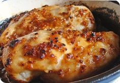Garlic & brown sugar chicken: YUM!  4 boneless skinless chicken breasts,   4 garlic cloves, minced,   4 tablespoons brown sugar,    3 teaspoons olive oil.   Directions:  Preheat oven to 500°F and lightly grease a casserole dish. In small sauté pan, sauté garlic with the oil until tender. Remove from heat and stir in brown sugar. Place chicken breasts in a prepared baking dish and cover with the garlic and brown sugar mixture. Add salt and pepper to taste. Bake uncovered for 15-30 minutes.