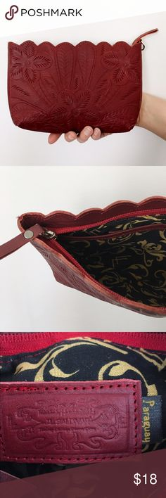 J L Saldivar Paraguay tooled genuine leather pouch Beautiful Floral and scalloped tooled leather pouch (both sides are decorated). Missing wristlet strap and priced accordingly. j l saldivar Bags Clutches & Wristlets