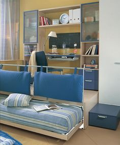 Great idea...lots of storage, trundle bed pushes back under the platform for more floor space.