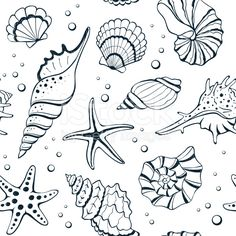 Seashells seamless background royalty-free stock vector art