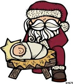image result for santa kneeling at the manger clip art