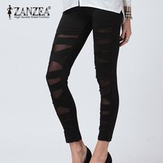 Barato 2015 Zanzea New Fashion Womens Sexy estiramento tarja preta Ripped Cut Out rasgado meninas Punk aptidão Slim Fit Leggings, Compro Qualidade Leggings de Denim diretamente de fornecedores da China: 9 Color S-XXL 2015 Summer Best Selling Fashion New Women Ladies Girl High Waist Pleated Floral Flower Chiffon Short Mini